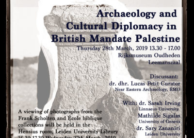 28/03/2019 – Lecture Series: Cultural Diplomacy and Archaeology in British Mandate Palestine